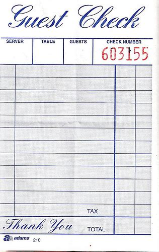 blank restaurant receipts