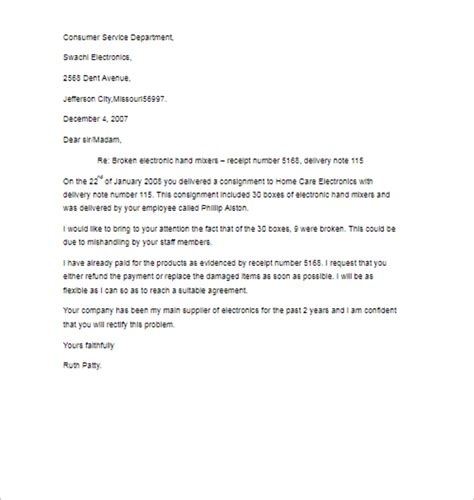 25 complaint letter templates free word sles exles