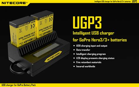 Usb Charger Gopro Charger Mengisi Baterai Gopro nitecore intelligent usb charger for gopro 3 3 ahdbt 201 301 ugp3 black