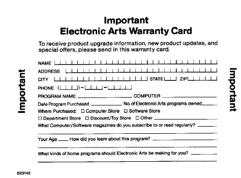 warrant card template electronic arts product warranty card 183 digital