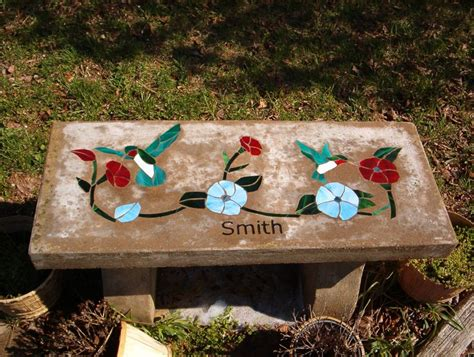 hummingbird garden bench stained glass concrete bench with hummingbirds concrete