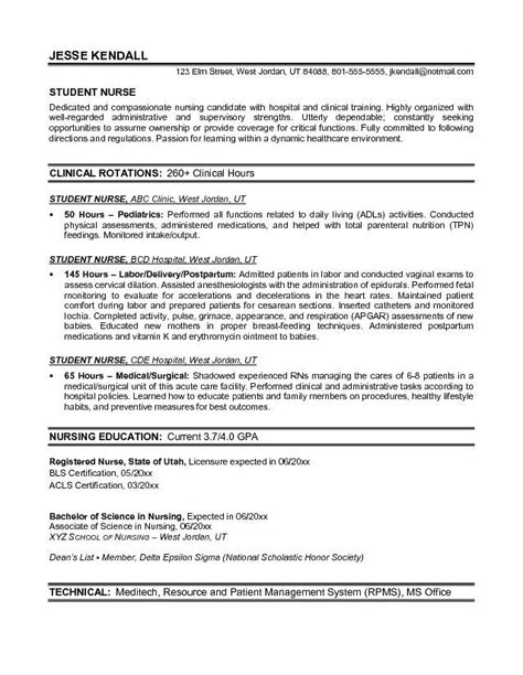Nursing School Resume by Exle Student Resume Free Sle Nursing