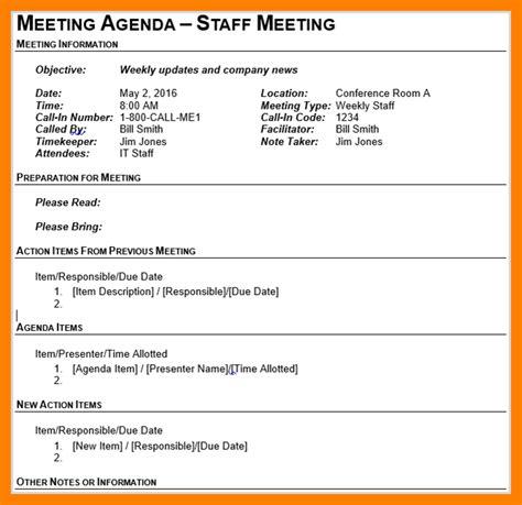 3 staff meeting agenda template cv for teaching