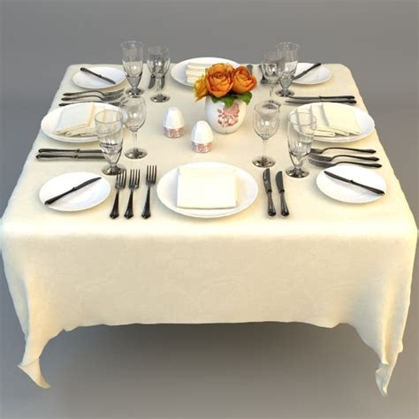 Dining Room Table Setting Dishes 3ds Max Dishes Cutlery