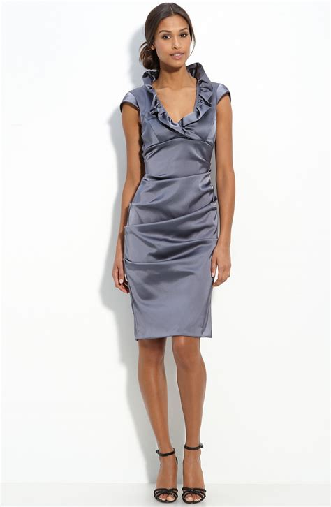 Dress Ruffle Dress xscape ruffle collar stretch satin sheath dress in gray charcoal lyst