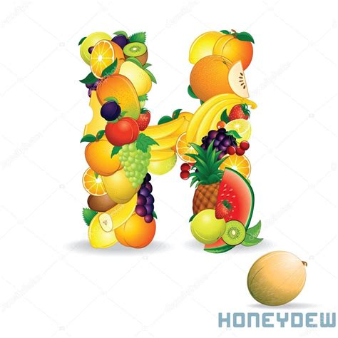 h letter fruit vector alphabet from fruit letter h stock vector