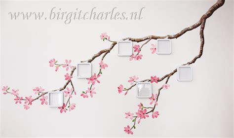 japanse tekeningen bloemen bloesem muurschildering voor een romantische kamer