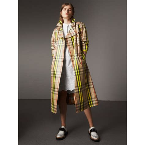 Exclusive To Matches Burberry Prorsum Trench Coat by Laminated Check Trench Coat Exclusive In
