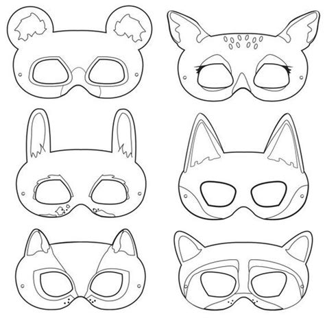 woodland animal mask templates woodland forest animals black and white printable masks