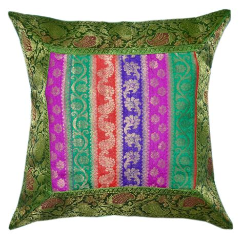 Bohemian Throw Pillows by Multi Floral Striped Bohemian Style Silk Throw Pillow
