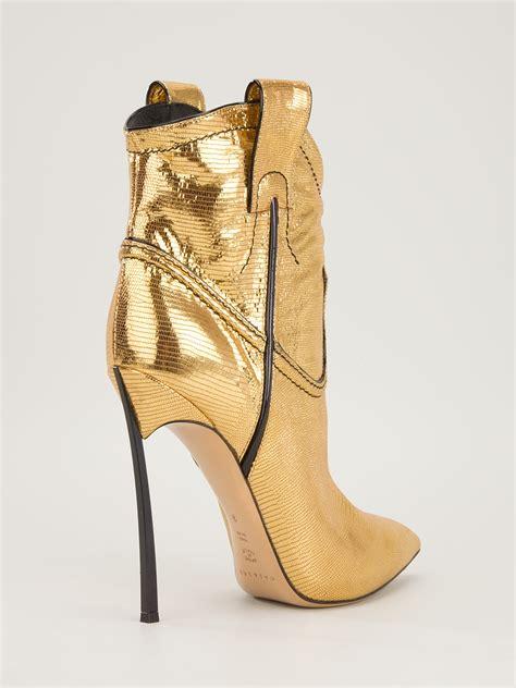 Heel Boot Coboy casadei stiletto heel cowboy boot in gold metallic lyst