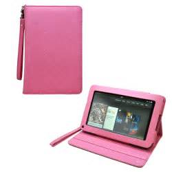 Pink leather stand case for kindle fire