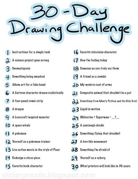 Drawing 6 Hours A Day by Victor Preato Iv 30 Day Drawing Challenge List