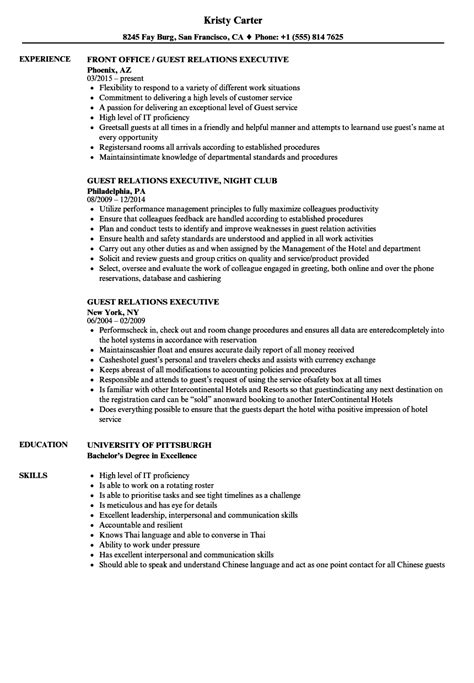 Relation Executive Resume by Guest Relations Executive Resume Sles Velvet