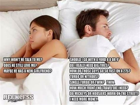 Men And Women Memes - laying in bed thinking difference between men and women