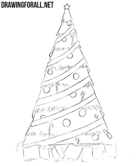 drawing step to step christmas decorations how to draw a simple tree drawingforall net