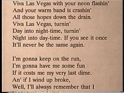 viva lyrics hit tunes karaoke viva las vegas originally performed