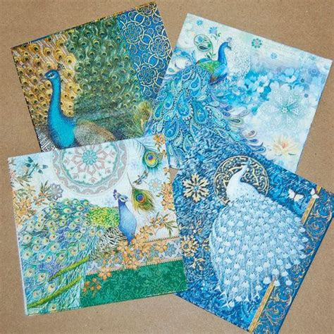 Decoupage Furniture With Scrapbook Paper - decoupage napkins peacock design 4 different peacock