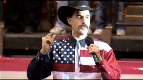 sacha baron cohen singing borat s rant and national anthem at rodeo youtube