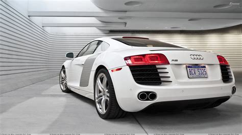 white audi r8 wallpaper back pose of audi r8 in white in garage wallpaper
