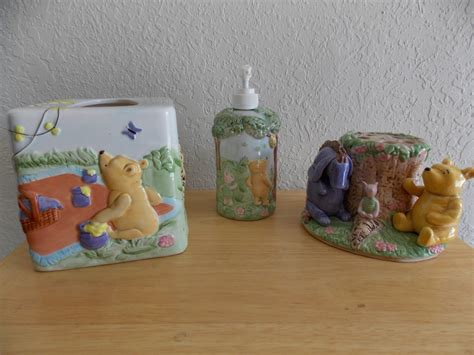 winnie the pooh bathroom set disney classic winnie the pooh 3pc ceramic bathroom accs