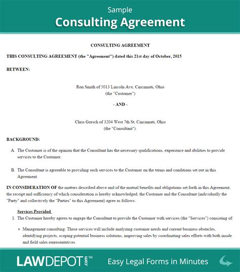 Agreement Letter For Consultancy Consulting Agreement Template Us Lawdepot