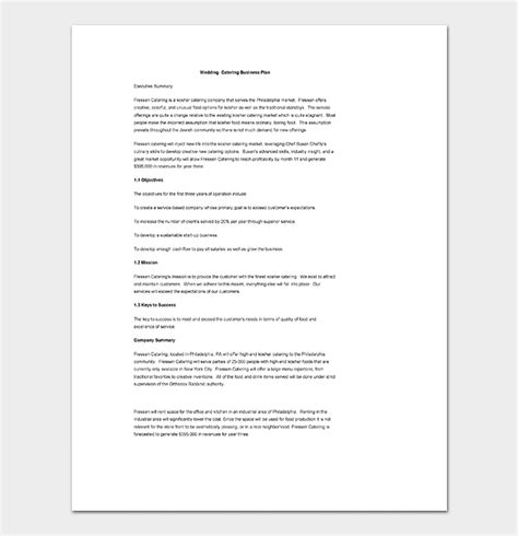 Catering Business Plan Template 11 For Word Doc Pdf Format Bridal Business Plan Template