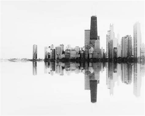 chicago skyline black white photograph abstract wall
