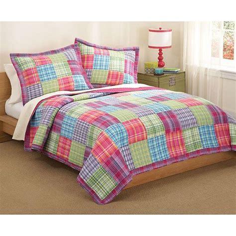 Plaid Patchwork Quilt - size 2 cotton quilt set multicolored