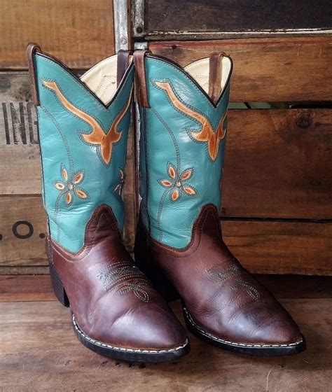 smoky mountains boots teal brown leather cowboy western
