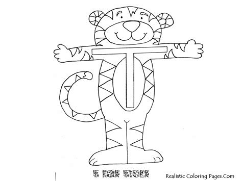 tiger t coloring page t alphabet coloring pages printable realistic coloring pages