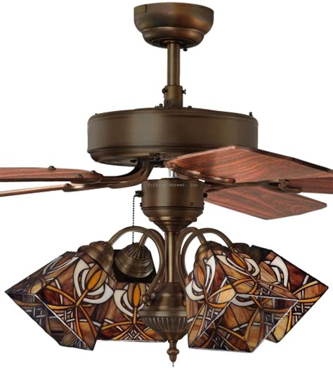 Inch Roman Shade - mission 4 light tiffany style stained glass ceiling fan ebay