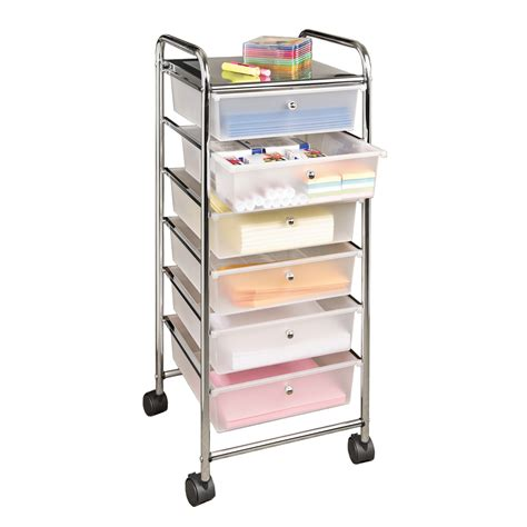 large 6 drawer storage bin organizer cart frosted white
