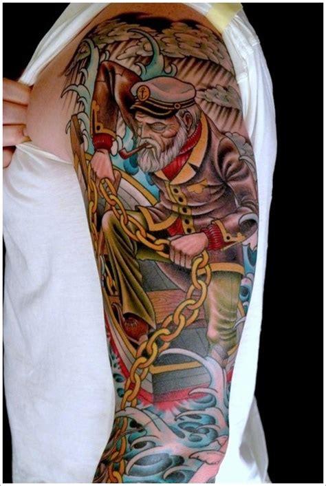 old school half sleeve tattoo designs school sailor with a chain on half sleeve
