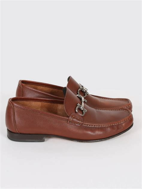 Salvatore Ferragamo Leather salvatore ferragamo gancini brown leather loafer 9