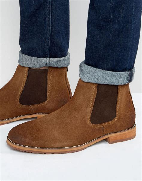 call it boots mens call it draun suede chelsea boots in brown for