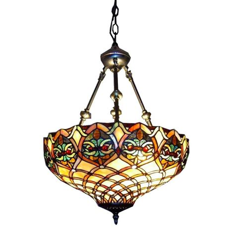 stained glass hanging light fixture warehouse of tiffany 2 light brass inverted hanging