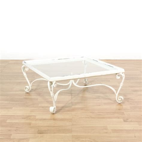 Shabby Square 2 square shabby chic white glass top coffee table loveseat