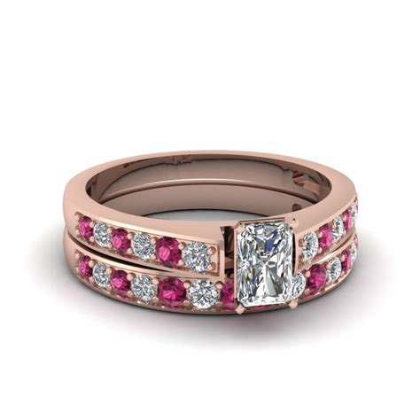 buy affordable pink sapphire wedding ring sets