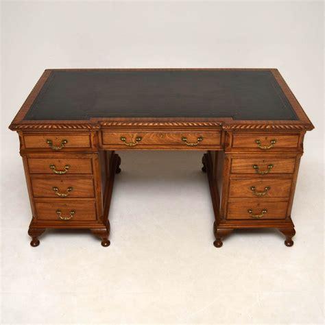 antique leather top desk large antique mahogany leather top pedestal desk