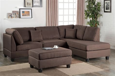 Plush Sectional Sofas Chocolate Plush Linen Like Fabric Sofa Sectional W Ottoman Accent Pillows