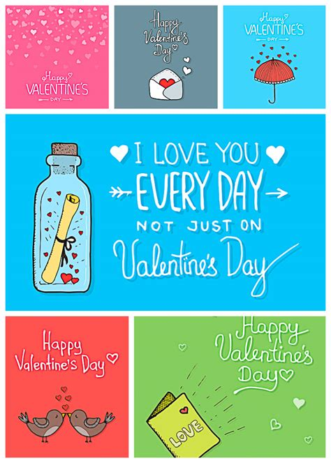 valentines cards with valentines day cards with birds vector pack free