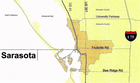 sarasota map file sarasota city colored gold 2 0 83d40m map of tamiami trail through sarasota 2009 12