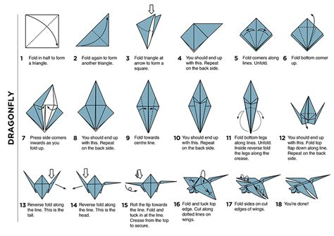 Origami Dragonfly Step By Step - origami flower diagrams bonsai origami diagrams elsavadorla
