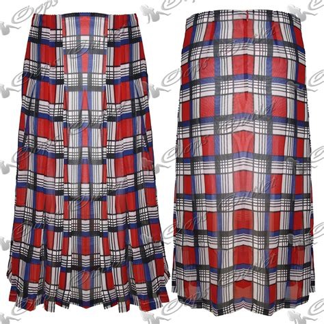tartan midi flare skirt womens skater plaid chiffon tartan pleated
