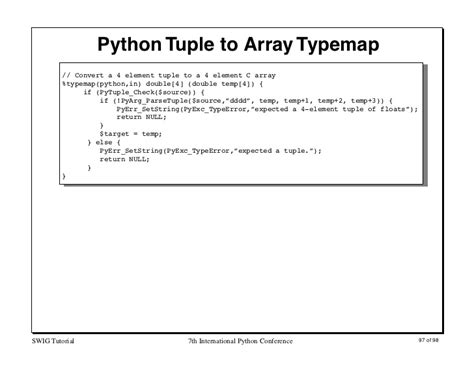 python tutorial tuple interfacing c c and python with swig