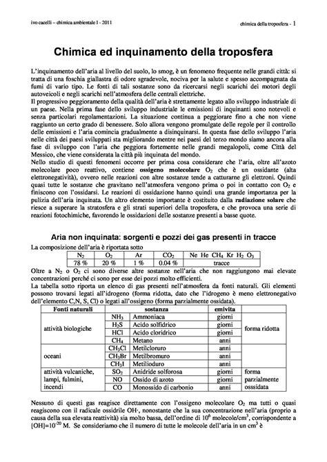 chimica ambientale dispense chimica e inquinamento della troposfera dispense
