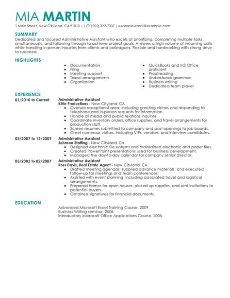 unforgettable administrative assistant resume exles to stand out myperfectresume