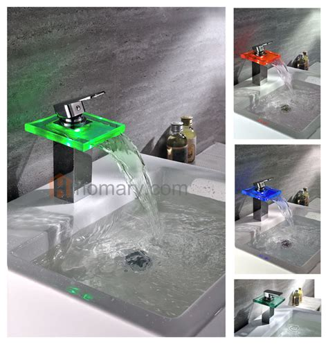 lighted bathroom faucets bling hydroelectric led lighted water fall sink faucet