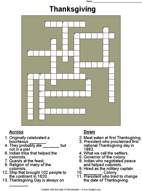 College Letter Earners Crossword 10 Superfun Thanksgiving Crossword Puzzles Baby